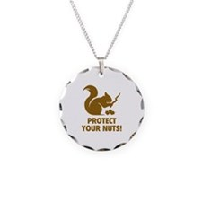 Protect Your Nuts! Necklace Circle Charm