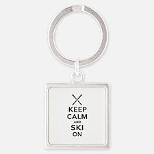Keep calm and Ski on Square Keychain