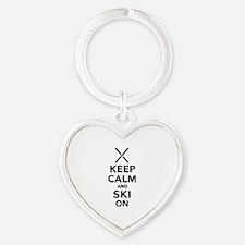 Keep calm and Ski on Heart Keychain