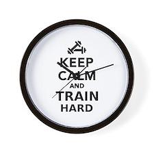 Keep calm and train hard Wall Clock