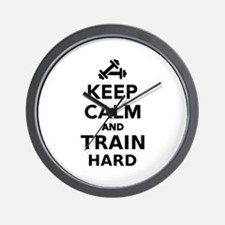 Keep calm and train hard Wall Clock