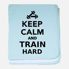 Keep calm and train hard baby blanket