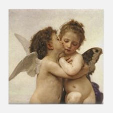 Exquisite First Kiss Angels Tile Coaster