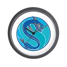 Blue Electric Eel Circle Design Wall Clock