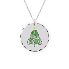 Merry Christmas Tree Necklace Circle Charm