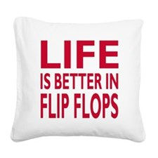 Life Is Better In Flip Flops Block Print Red Squar