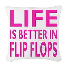 Life Is Better In Flip Flops Block Pink Trans Wove