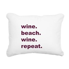 Wine Beach Wine Repeat Rectangular Canvas Pillow