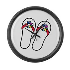 Flip Flops with Flowers Large Wall Clock