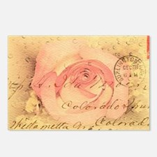 Old postcard with a rose Postcards (Package of 8)