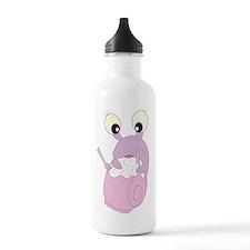 Pink snail eating Water Bottle