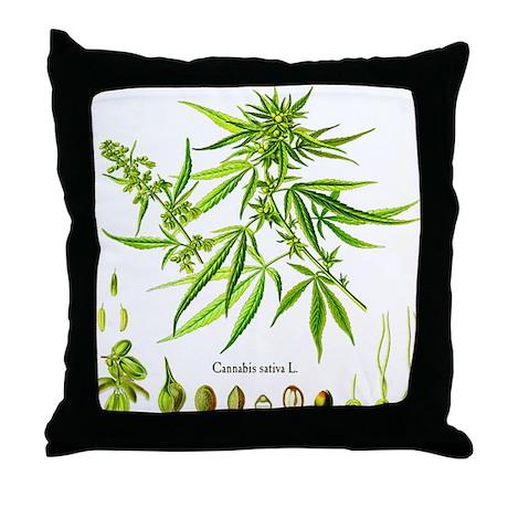 Cannabis Sativa L. Throw Pillow