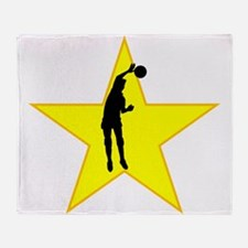 Volleyball Spike Silhouette Star Throw Blanket