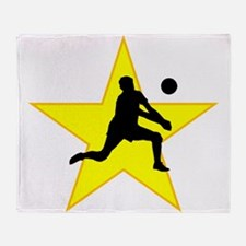 Volleyball Set Silhouette Star Throw Blanket