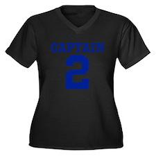 CAPTAIN #2 Women's Plus Size V-Neck Dark T-Shirt