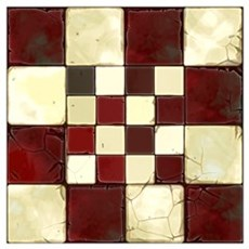 Cracked Tiles - Red Wall Art Poster
