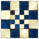 Cracked Tiles - Blue Wall Art