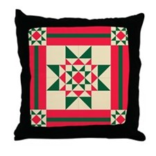 Christmas Star Quilt Block Red Green  Throw Pillow