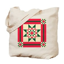 Christmas Star Quilt Block Red Green and  Tote Bag