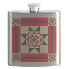 Christmas Star Quilt Block Red Green and Cre Flask