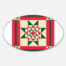 Christmas Star Quilt Block Red Green and C Decal