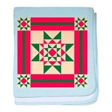 Christmas Star Quilt Block Red Green baby blanket