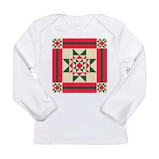 Christmas Star Quilt Block Red Long Sleeve T-Shirt