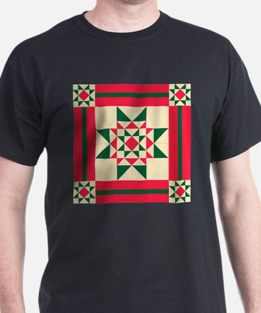 Christmas Star Quilt Block Red Green and C T-Shirt