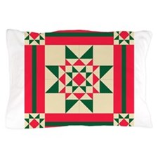 Christmas Star Quilt Block Red Green a Pillow Case