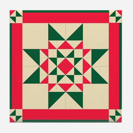 Christmas Star Quilt Block Red Green Tile Coaster