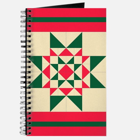 Christmas Star Quilt Block Red Green and C Journal