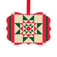 Christmas Star Quilt Block Red Gr Ornament