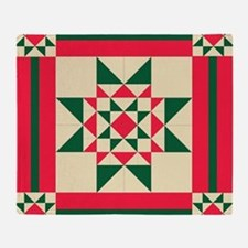 Christmas Star Quilt Block Red Green Throw Blanket