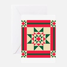 Christmas Star Quilt Block Red Gree Greeting Cards