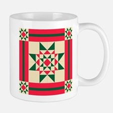 Christmas Star Quilt Block Red Green and Crea Mugs