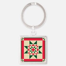 Christmas Star Quilt Block Red Green and Keychains