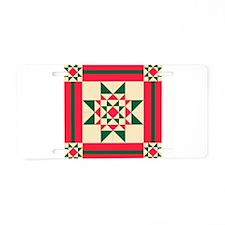 Christmas Star Quilt Block Aluminum License Plate