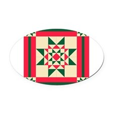 Christmas Star Quilt Block Red Gre Oval Car Magnet