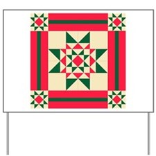 Christmas Star Quilt Block Red Green and Yard Sign