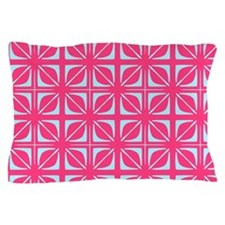 Abstract Geometric Leaf Floral Squares Pillow Case