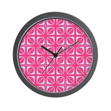 Abstract Geometric Leaf Floral Squares Wall Clock
