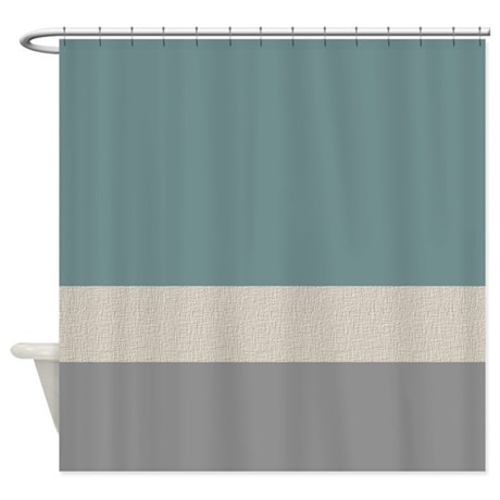 Teal Color Bands Shower Curtain By Jqdesigns