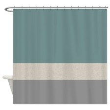 Teal Color Bands Shower Curtain
