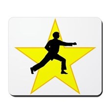 Karate Punch Silhouette Star Mousepad
