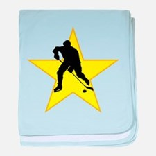 Hockey Player Silhouette Star baby blanket