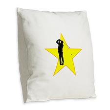 Golfer Silhouette Star Burlap Throw Pillow