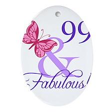 Fabulous 99th Birthday Ornament (Oval)