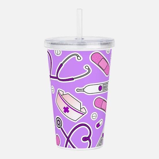 Cute Nurse Pattern Purple Acrylic Double-wall Tumb