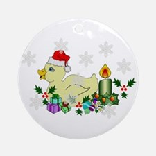 Yellow Christmas Duck Ornament (Round)