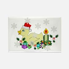 Yellow Christmas Duck Rectangle Magnet